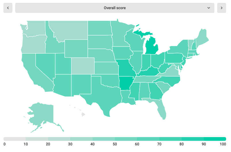 New study: the best & worst states at managing debt - States map image
